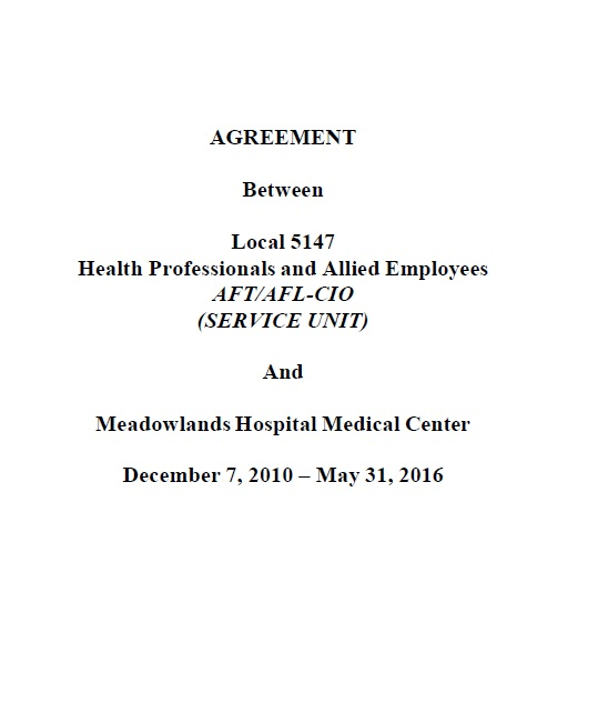 Local 5147 Service Contract 2010 To 2016 Health Professionals