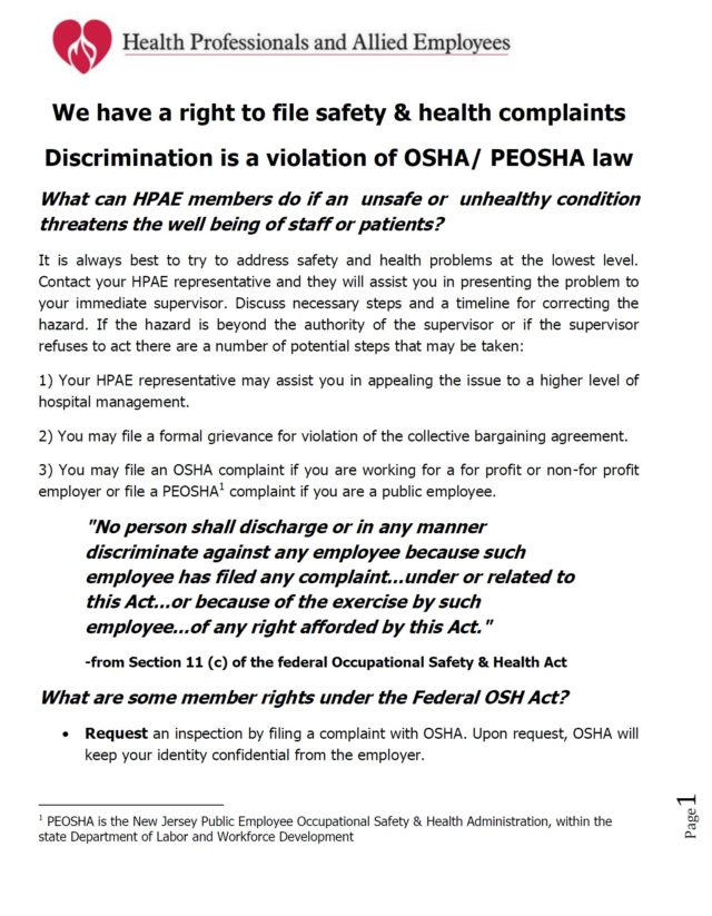 Our Right To File An Osha Or Peosha Complaint Without Discrimination