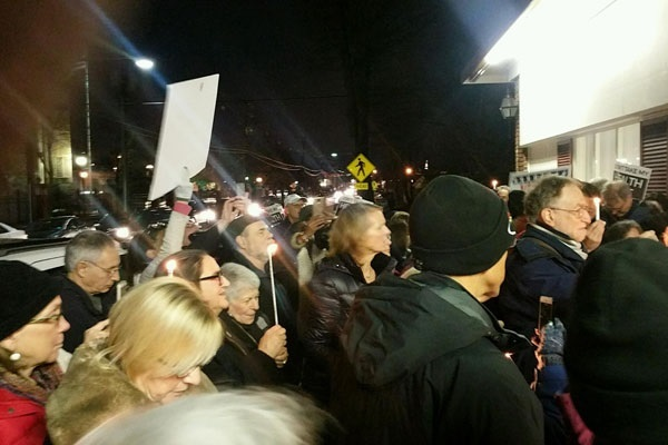 Hundreds of people rallied outside of Congressman Lance's Town Hall